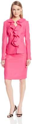 Le Suit LeSuit Women's Ruffle Front Textured Weave Jacket and Skirt Suit Set