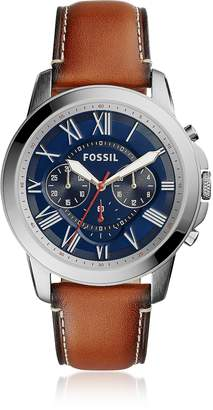 Fossil Grant Chronograph Light Brown Leather and Blue Dial Men's Watch