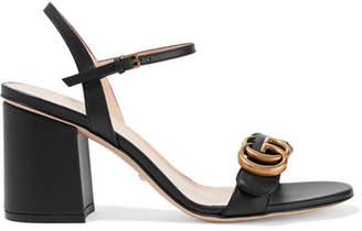 Gucci Marmont Logo-embellished Leather Sandals - Black