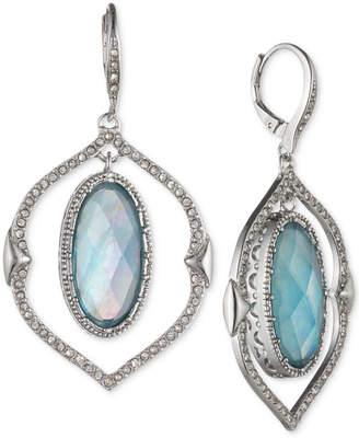 Jenny Packham Silver-Tone Pave & Stone Orbital Drop Earrings
