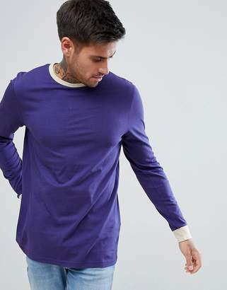 Asos Design Long Sleeve T-Shirt With Contrast Cuff And Collar In Purple