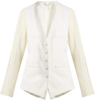 Chloé Collarless Wool Blend Single Breasted Jacket - Womens - Cream