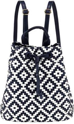 Neiman Marcus Diamond-Weave Drawstring Backpack
