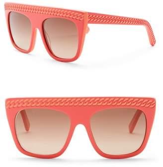 Stella McCartney 54mm Chain Embossed Flat Top Sunglasses