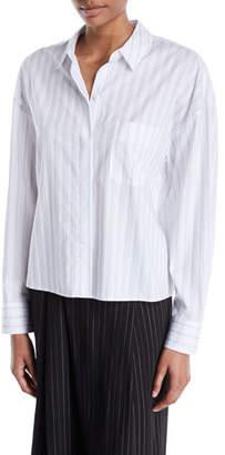 Vince Boxy Pinstripe Button-Front Shirt