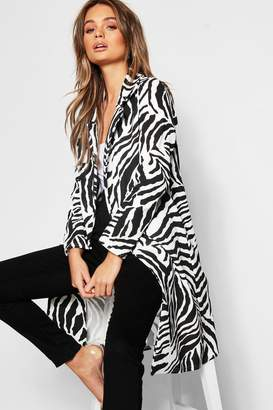 boohoo Zebra Double Collar Longline Duster