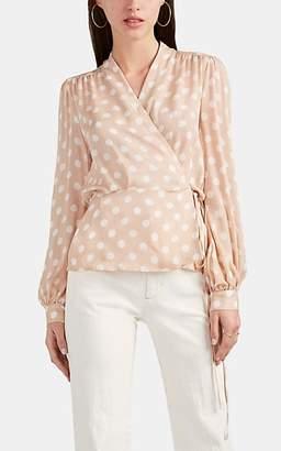 L'Agence Women's Cara Polka Dot Silk Wrap Blouse - Pink
