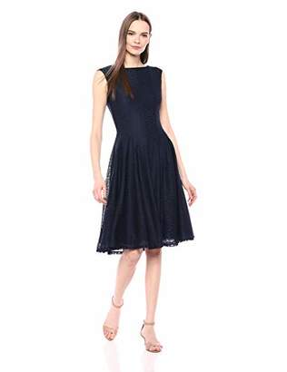 Gabby Skye Women's Cap Sleeve Navy Lace Dress