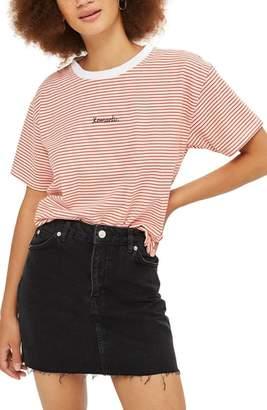 Topshop Frayed Hem Denim Miniskirt