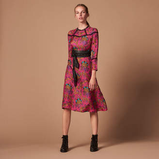 Sandro Silk twill and lace dress