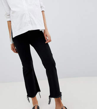Asos DESIGN Maternity Egerton rigid cropped flare jeans in washed black with raw hem with over the bump waistband
