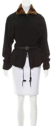 Gianfranco Ferre Mink-Trimmed Belted Jacket w/ Tags