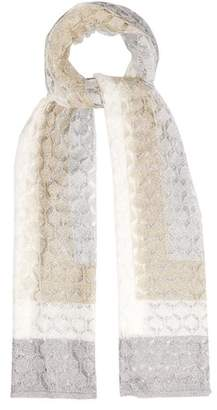 Missoni Striped Fine Knit Scarf - Womens - Silver