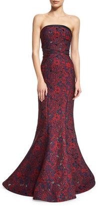 Zac Posen Strapless Floral-Print Mermaid Gown, Floral $6,990 thestylecure.com