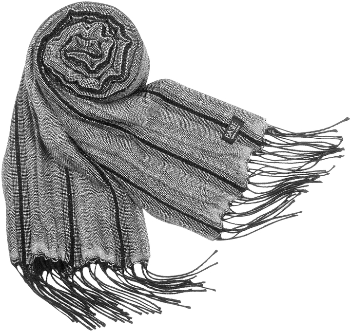 Basile Shimmering Wool Fringed Long Scarf