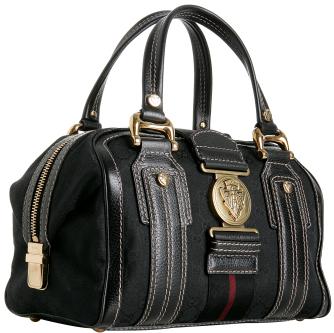 Gucci black GG canvas 'Aviatrix' medium boston bag