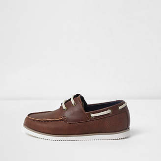 River Island Boys brown lace-up boat shoes