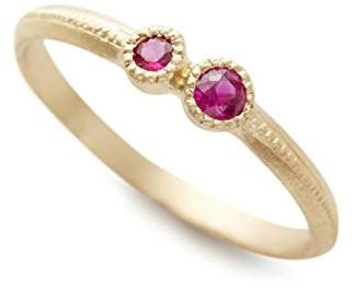 Cherry Brown Women's 10ct Yellow Gold Round Ruby Ring - Size K