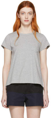 Sacai Grey and White Panelled Jersey T-Shirt