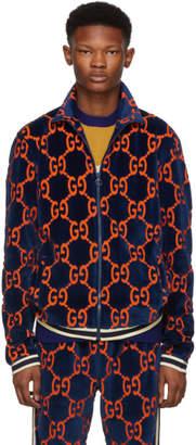 Gucci Blue Chenille GG Supreme Track Jacket