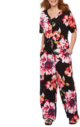 WESLEE ROSE Weslee Rose Short Sleeve Floral Jumpsuit