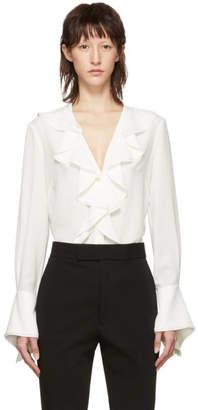 Alexander McQueen White Silk Ruffle Shirt