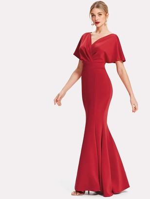 Shein Surplice Neckline Fishtail Prom Dress