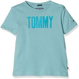 Tommy Hilfiger Boy's AME Flock Cn Tee S/s T-Shirt, (Cameo Blue 407)