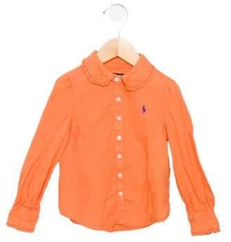 Ralph Lauren Girls' Linen Button-Up Top