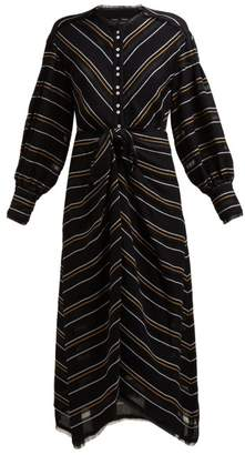 Proenza Schouler Striped Crepe Shirtdress - Womens - Black Multi
