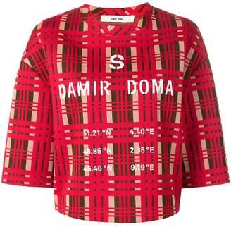 Damir Doma x LOTTO logo tartan short-sleeve top