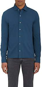 Piattelli MEN'S COTTON PIQUÉ SHIRT - BLUE SIZE XL