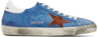 Golden Goose Blue and Brown Suede Superstar Sneakers