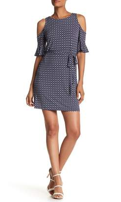 Donna Morgan Cold Shoulder Print Henley Shift Dress $118 thestylecure.com