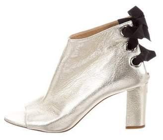 Jerome C. Rousseau Metallic Peep-Toe Boots