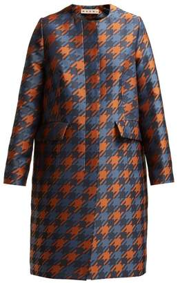Marni Houndstooth Print Silk Lined Coat - Womens - Brown Multi