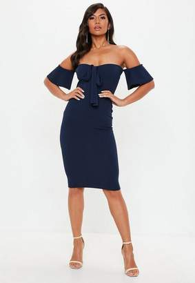 Missguided Navy Tie Front Midi Dress