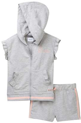 Hudson Heather Grey Short Sleeve Zip Top & Shorts Set (Toddler Girls)