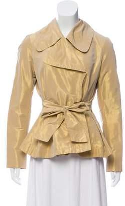 Burberry Tie-Accented Metallic Jacket metallic Tie-Accented Metallic Jacket
