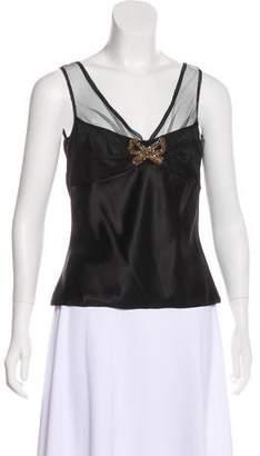 John Galliano Embellished Silk Top