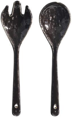 Nordic Broste Copenhagen Coal Salad Servers - Stoneware - Charcoal