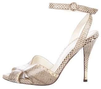 Saint Laurent Snakeskin Ankle-Strap Sandals