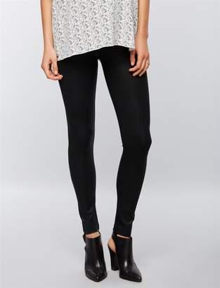 David Lerner Pea Collection Secret Fit Belly Faux Leather Maternity Leggings- Black