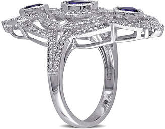 FINE JEWELRY Lab-Created Blue Sapphire and 1/10 CT. T.W. Diamond Sterling Silver Milgrain Ring