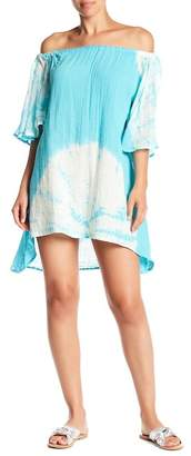 Green Dragon Off-the-Shoulder Butterfly Tunic