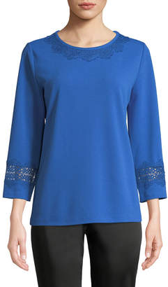 Karl Lagerfeld Paris 3/4-Sleeve Lace-Trimmed Blouse