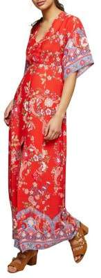 Miss Selfridge Print Button Kimono Maxi Dress