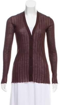 Prada Rib Knit Button-Up Cardigan