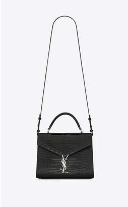 Saint Laurent Cassandra Top Handle Medium Bag In Shiny Crocodile-Embossed Leather
