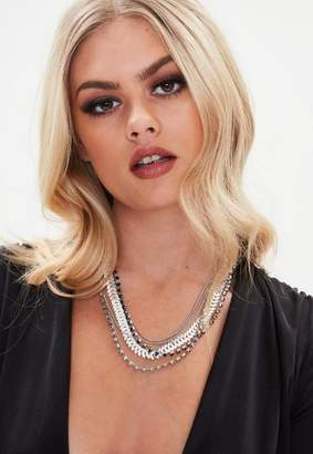 Missguided Chain Diamante Necklace